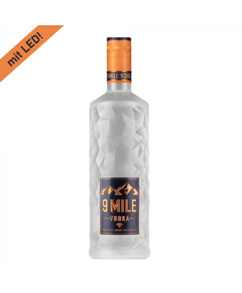 9 Mile Vodka Flasche 0,7l mit Fels Struktur Design