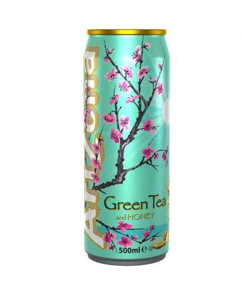 AriZona Green Tea Honey Eistee in einer 0,5l Dose.