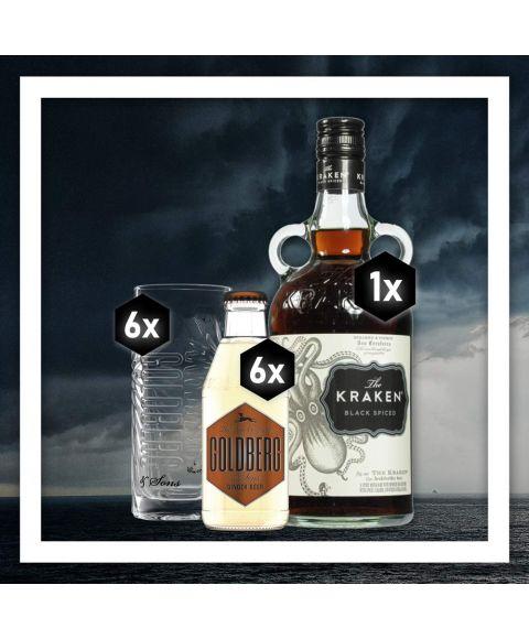 Goldberg Dark n Stormy komplettes Zutatenpaket mit Kraken Rum, Golberg Ginger Beer und 6x Goldberg Highball Glas