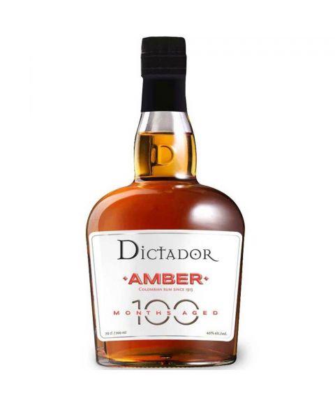 Dictador Colombian Amber Rum 100 Months Aged in einer 0,7l Glasflasche und schwarzer Verschlusskappe.