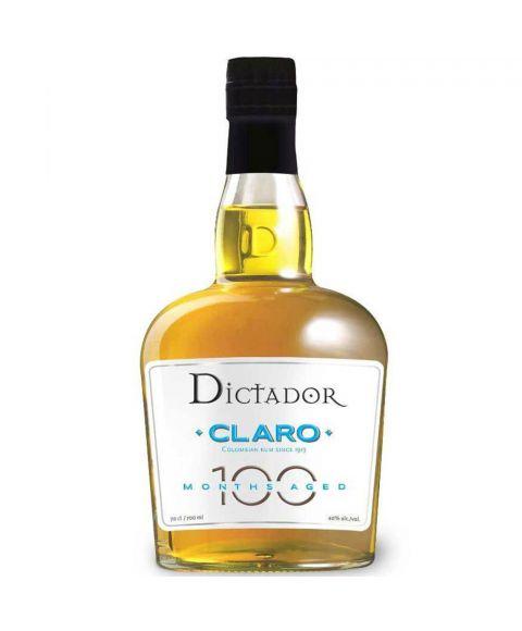 Dictador Colombian Claro Rum in einer 0,7l Glasflasche mit schwarzer Verschlusskappe.