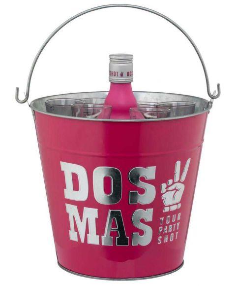 Pinker Eiseimer von DOS MAS mit Pappinlay für 6 Shots und eine 0,7l Flasche