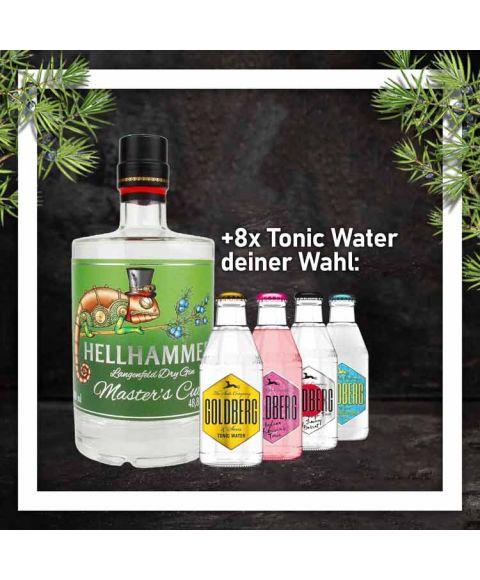 Hellhammer Dry Gin Master Cut 0,5L mit 8x Goldberg Tonic Water 0,2L Glasflasche nach Wahl im Paket zum Vorteilspreis