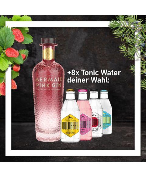 Mermaid Pink Gin 0,7L mit 8x Goldberg Tonic Water 0,2L Glasflasche nach Wahl im Paket zum Vorteilspreis