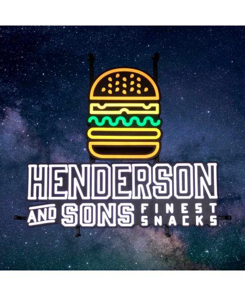 Henderson & Sons Reklameschild LED Burger Leuchtreklame LED Sign Leuchtschild