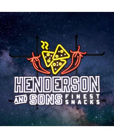 Henderson & Sons LED Neon Leuchtreklameschild mit Pepperoni und Tortilla Chips