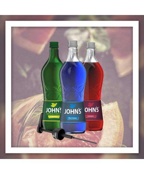 Johns Mixer für geschmackvolles Cocktails - Lime Juice, Blue Curacao, Grenadine