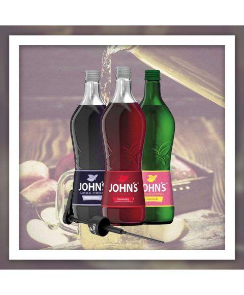Johns Mixer für geschmackvolles Mineralwasser ohne viel Zucker - black currant, strawberry, lemonade