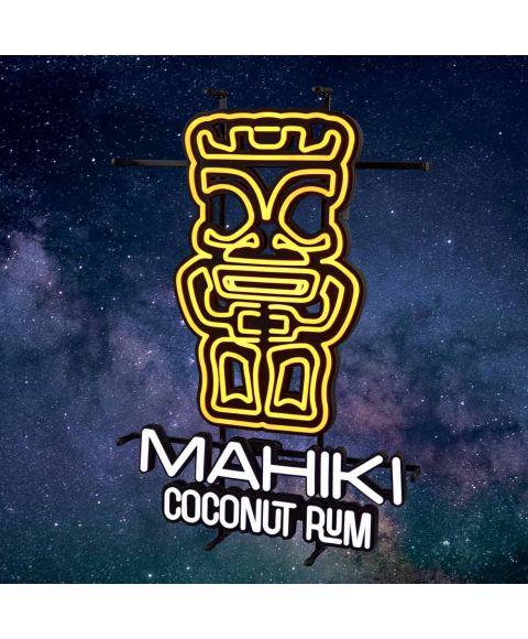 MAHIKI NEON Sign Leuchtreklame Schild mit Abbildung einer TIKI Figur und Markenlogo Mahiki Coconut Rum zum hinstellen oder an die Wand hängen. Orange weiß leuchtend