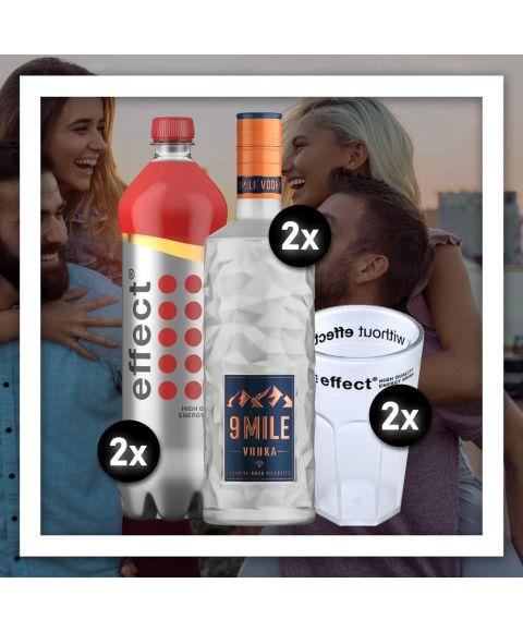 Das Party Brother Aktions Bundle besteht aus 2x effect classic 1,0L, 2x 9 MILE Vodka 0,7L sowie zwei effect Acryl Cocktail Bechern.