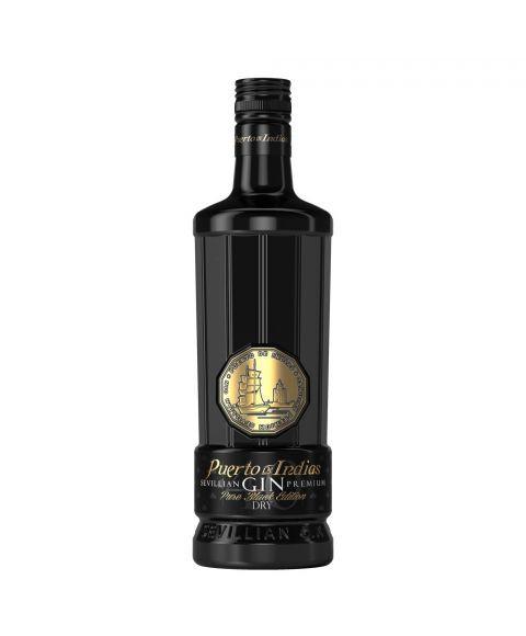 Puerto de Indias London Dry Gin Pure Black Edition 0,7 L schwarze Flasche Frontansicht