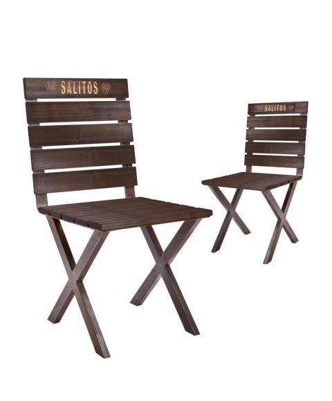 SALITOS Einrichtung Garten-Stuhl 2er Set Terrassen-Stuhl Outdoor-Stuhl aus Holz und Metall, dunkel lackiert und mit eingearbeitetem Logo.