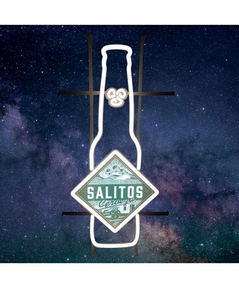 Beleuchtetes LED Neon Sign von SALITOS in Flaschenform mit Cerveza Bier Logo in der Mitte