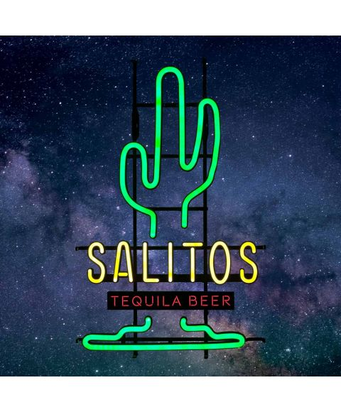 beleuchtetes SALITOS Neon Reklame Schild mit Kaktus Motiv