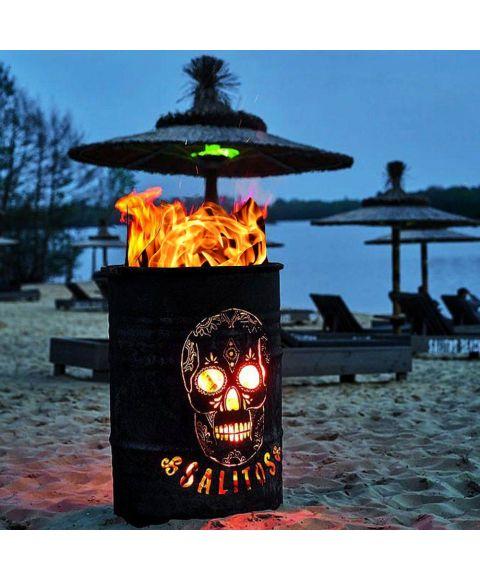 SALITOS Rusty Feuer Brenn Tonne Totenkopfdesign Seitenansicht