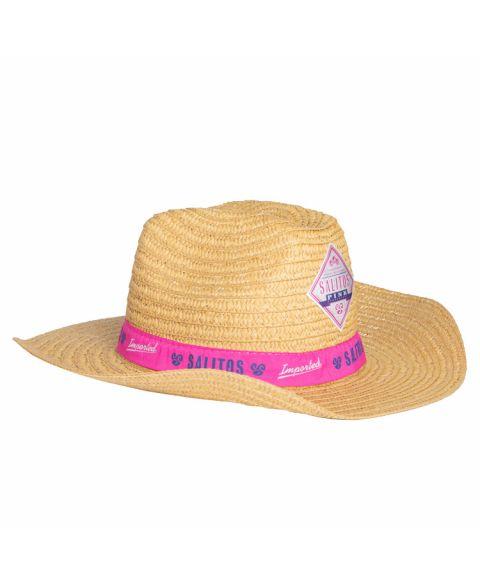 Salitos Strohhut mit Pinker Bandrole und Logo in der Seitenansicht