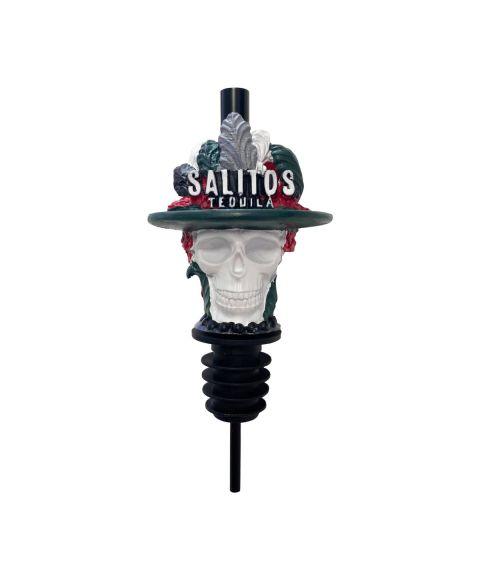 Bunter Flaschen-Ausgießer-Aufsatz von SALITOS im Muerte Totenkopf Design passend für alle herkömmlichen Flaschenhälse.