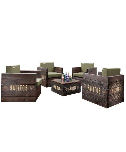 Salitos Lounge Furniture Möbel Set aus 4 Stühlen und einem Tisch outdoor
