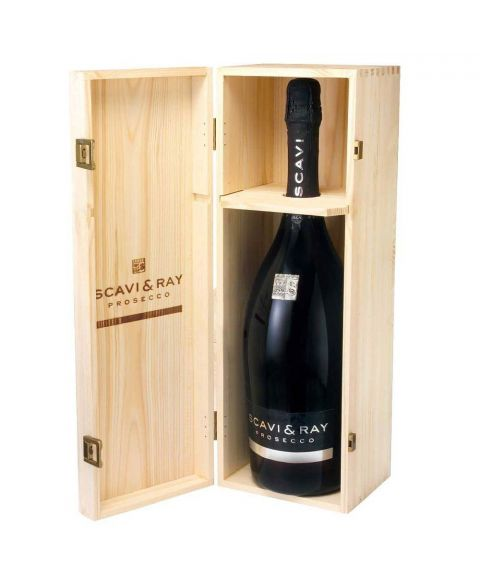 SCAVI & RAY 3l Prosecco Flasche DOC in Holzkiste als Geschenk
