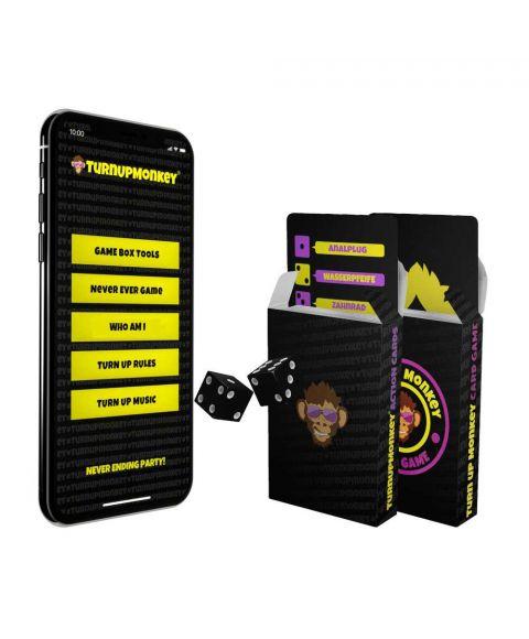 Turn Up Monkey Gamebox mit 2 Trink Kartenspielen und zwei Würfeln