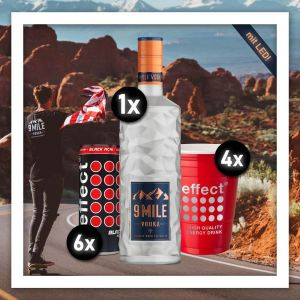 9 Mile effect energy Longdrink Ruby Rock im Aktionspaket mit 4 Red Cups