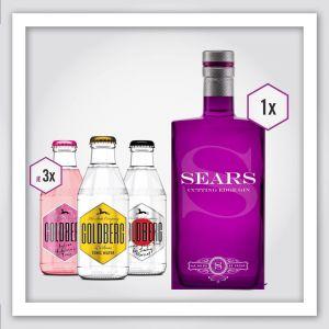 Sears Cutting Edge Gin in der 0,7l Flasche, Goldberg & Sons YUZU Tonic, Goldberg & Sons Indian Hibiscus Tonic, Goldberg & Sons Tonic Water