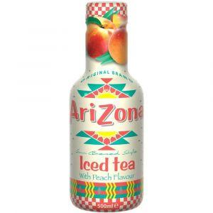 AriZona Iced Tea Peach in einer 0,5l PET Flasche.