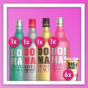 DOS MAS Hazel Shot 0,7l, DOS MAS Pink Shot 0,7l, DOS MAS Kiss Shot 0,7l, DOS MAS Mex Shot 0,7l, DOS MAS Shotglas,  mit 6 DOSMAS Shot-Gläsern auf pinken Hintergrund