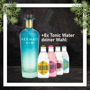 Mermaid Gin 0,7L mit 8x Goldberg Tonic Water 0,2L Glasflasche nach Wahl im Paket zum Vorteilspreis