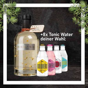 Mocfor Gin Adam mit Blattgold 0,7L mit 8x Goldberg Tonic Water 0,2L Glasflasche nach Wahl im Paket zum Vorteilspreis
