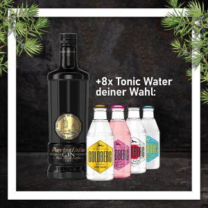 Puerto de Indias Pure Black Gin 0,7L mit 8x Goldberg Tonic Water 0,2L Glasflasche nach Wahl im Paket zum Vorteilspreis