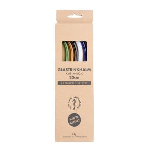 6 Glastrinkhalme mit Knick in den Farben grün, orange, schwarz, weiß, rosa und kobaltblau + Reinigungsbürste in Kartonage
