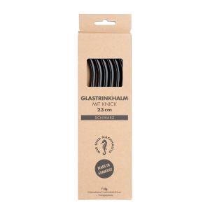 6 Glastrinkhalme mit Knick in der Farbe schwarz + Reinigungsbürste in Kartonage