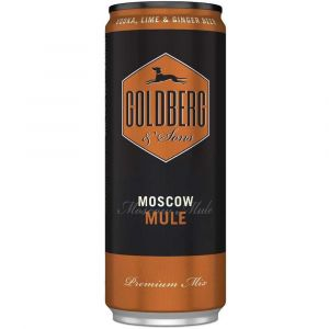 Goldberg Premix Moscow Mule in der schwarz braunen 0,33l Dose für unterwegs.