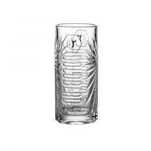 Goldberg Highball Longdrinkglas transparent mit 3D Schliff und eingeprägtem Logo.