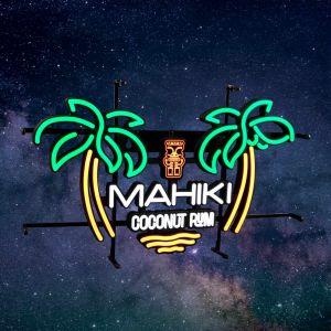 MAHIKI NEON Sign Leuchtreklame Schild Palmeninsel und Markenlogo Mahiki Coconut Rum zum hinstellen oder an die Wand hängen. Orange weiß grün leuchtend
