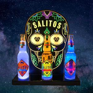 SALITOS Bottle Glorifier beleuchtet mit Salitos Tequila / Salitos Ice & Salitos Blue 0,33l Glasflaschen