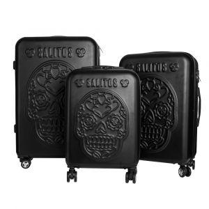 Salitos Reise-Kofferset drei teilig schwarz im Totenkopfdesign