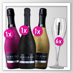 Scavi & Ray 3 Glitzerflaschen in den Farben schwarz, pink und Gold zusammen mit 6 Prosecco Gläsern im Bundle