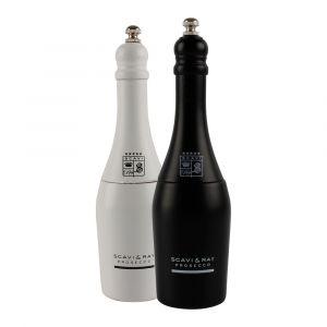 SCAVI & RAY Salz- und Pfeffermühle schwarz und weiß in Flaschenform Design.