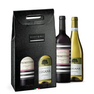 Scavi & Ray Weissweinflasche Lugana und Rotweinflasche Primitivo in tragbarer Geschenkkartonage.