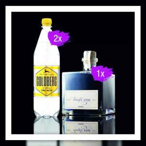 Gin Tonic Kombination aus Goldberg Tonic Water und Tinte Dry Premium Gin.