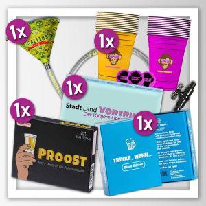 Paket bestehend aus mehreren Trinkspielen für Erwachsene. Kartenspiele, Beer Pong und Trichtersaufen
