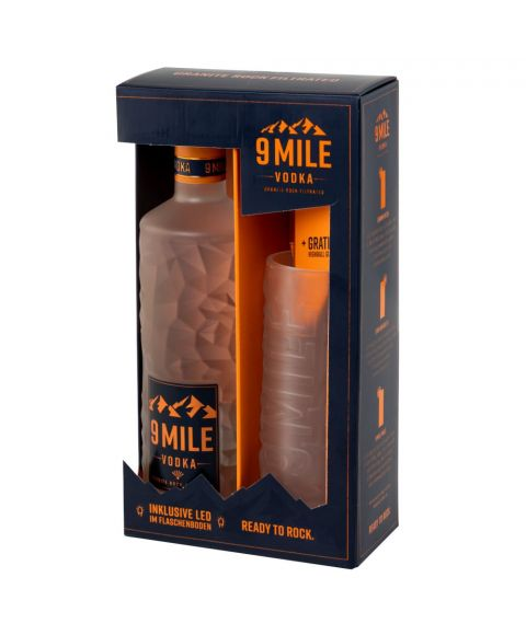 9 MILE Vodka mit gefrostetem Highball Glas in Geschenkverpackung