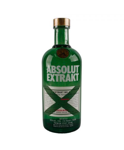 ABSOLUT Vodka Extrakt Kräuterschnaps in dunkelgrüner 0,7L Glasflasche Frontansicht
