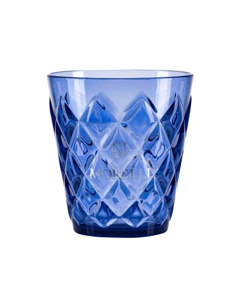 Acqua Morelli Glas in blau mit 3D Muster, Monogramm und Logo.