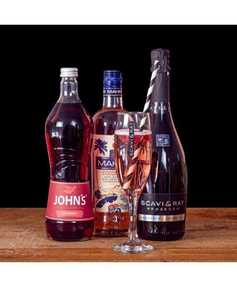 komplettes Cocktail Paket mit allen notwendigen Basis Zutaten. Beinhaltet Johns Himbeer Sirup, Mahiki Kokosnuss Rum, Scavi & ray Prosecco zum mischen eines Mahiki Fizzy Prosecco Cocktails