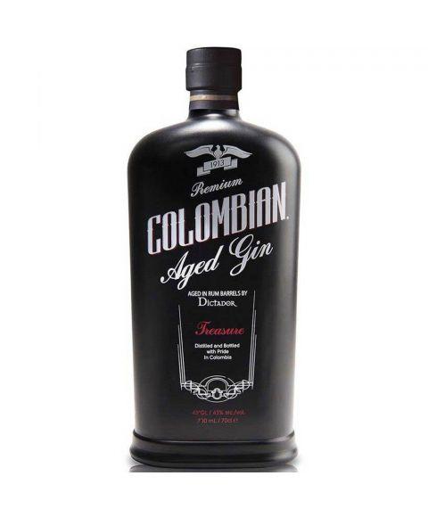 Dictador Colombian Treasure Aged Gin in einer schwarzen Flasche mit weißer und roter Schrift und 0,7l Inhalt.