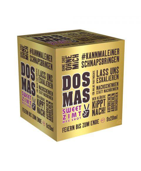 DOS MAS Mex Shot das leckere mit Tequila verfeinerte Zimtlikör im praktischen 9x0,02l Partypack seitliche Ansicht