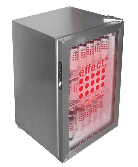 effect® Silver Cooler, kleiner Kühlschrank mit transparenter Tür.